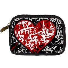 Red Graffiti Style Hart  Digital Camera Cases by Valentinaart