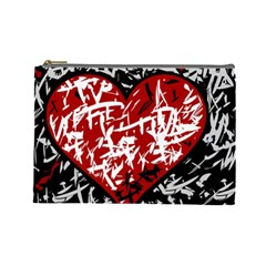 Red Graffiti Style Hart  Cosmetic Bag (large)  by Valentinaart