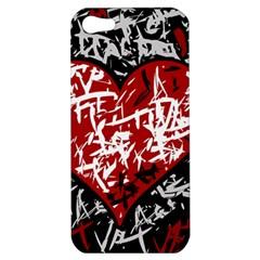 Red Graffiti Style Hart  Apple Iphone 5 Hardshell Case by Valentinaart