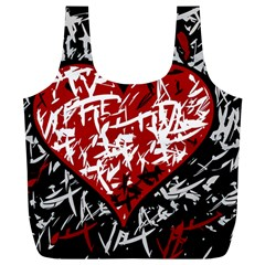 Red Graffiti Style Hart  Full Print Recycle Bags (l)  by Valentinaart