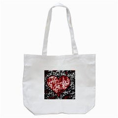 Red Graffiti Style Hart  Tote Bag (white) by Valentinaart