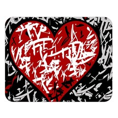 Red Graffiti Style Hart  Double Sided Flano Blanket (large)  by Valentinaart