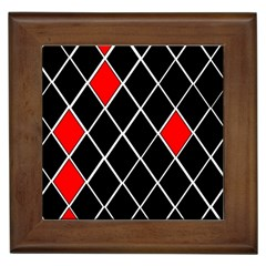 Elegant Black And White Red Diamonds Pattern Framed Tiles by yoursparklingshop