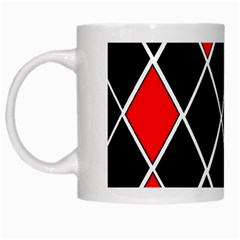 Elegant Black And White Red Diamonds Pattern White Mugs by yoursparklingshop