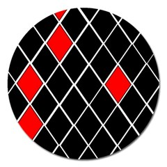 Elegant Black And White Red Diamonds Pattern Magnet 5  (round) by yoursparklingshop