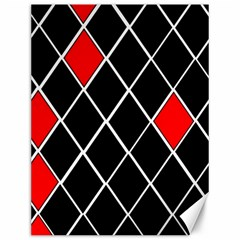 Elegant Black And White Red Diamonds Pattern Canvas 12  X 16   by yoursparklingshop