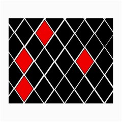 Elegant Black And White Red Diamonds Pattern Small Glasses Cloth (2-Side)