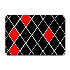 Elegant Black And White Red Diamonds Pattern Small Doormat  by yoursparklingshop