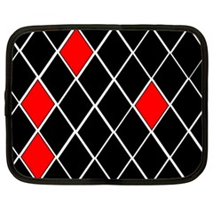 Elegant Black And White Red Diamonds Pattern Netbook Case (xl)  by yoursparklingshop