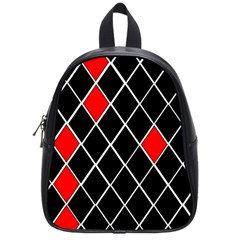 Elegant Black And White Red Diamonds Pattern School Bags (small)  by yoursparklingshop