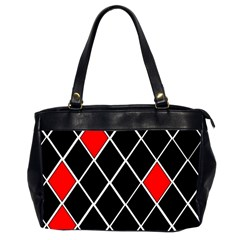 Elegant Black And White Red Diamonds Pattern Office Handbags (2 Sides)  by yoursparklingshop