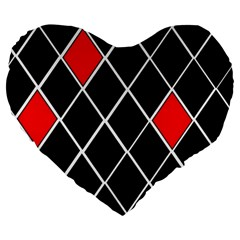 Elegant Black And White Red Diamonds Pattern Large 19  Premium Heart Shape Cushions by yoursparklingshop