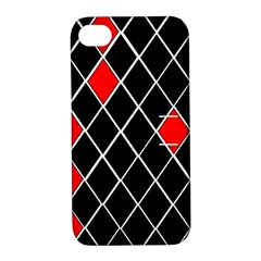 Elegant Black And White Red Diamonds Pattern Apple Iphone 4/4s Hardshell Case With Stand by yoursparklingshop