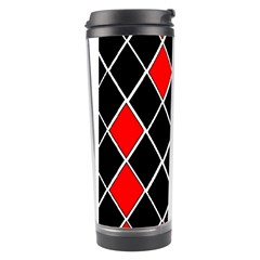 Elegant Black And White Red Diamonds Pattern Travel Tumbler by yoursparklingshop