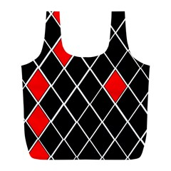 Elegant Black And White Red Diamonds Pattern Full Print Recycle Bags (L)  by yoursparklingshop
