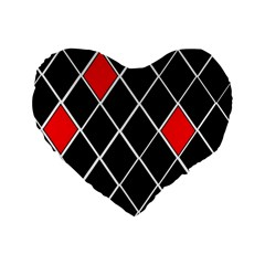 Elegant Black And White Red Diamonds Pattern Standard 16  Premium Flano Heart Shape Cushions by yoursparklingshop