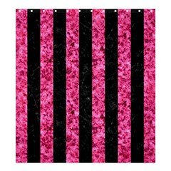 Stripes1 Black Marble & Pink Marble Shower Curtain 66  X 72  (large) by trendistuff