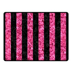 Stripes1 Black Marble & Pink Marble Double Sided Fleece Blanket (small) by trendistuff