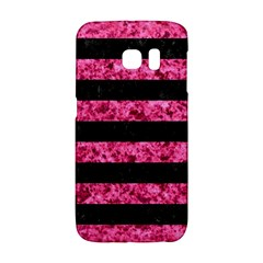 Stripes2 Black Marble & Pink Marble Samsung Galaxy S6 Edge Hardshell Case by trendistuff