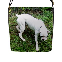 Boxer White Puppy Full Flap Messenger Bag (L)  by TailWags