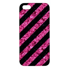 Stripes3 Black Marble & Pink Marble Apple Iphone 5 Premium Hardshell Case by trendistuff