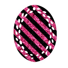 Stripes3 Black Marble & Pink Marble (r) Ornament (oval Filigree)