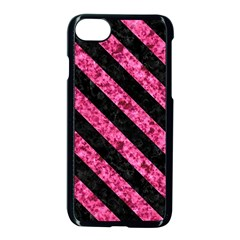 Stripes3 Black Marble & Pink Marble (r) Apple Iphone 7 Seamless Case (black) by trendistuff