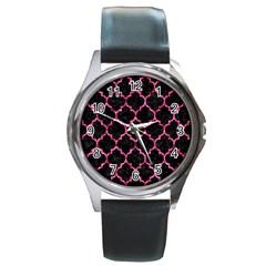 Tile1 Black Marble & Pink Marble Round Metal Watch by trendistuff
