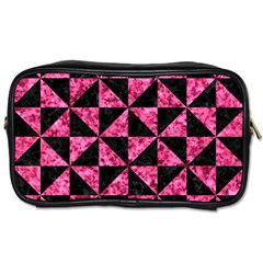 Triangle1 Black Marble & Pink Marble Toiletries Bag (one Side) by trendistuff