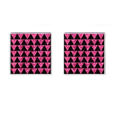 Triangle2 Black Marble & Pink Marble Cufflinks (square) by trendistuff