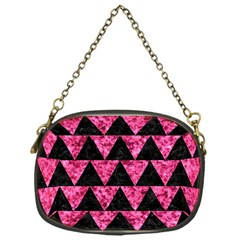 Triangle2 Black Marble & Pink Marble Chain Purse (one Side) by trendistuff