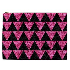 Triangle2 Black Marble & Pink Marble Cosmetic Bag (xxl) by trendistuff
