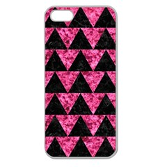 Triangle2 Black Marble & Pink Marble Apple Seamless Iphone 5 Case (clear) by trendistuff