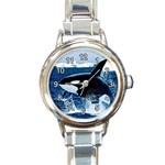 LEAPING KILLER WHALE ROUND ITALIAN CHARM WATCH