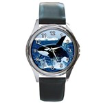 LEAPING KILLER WHALE ROUND METAL WATCH