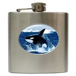 LEAPING KILLER WHALE STAINLESS STEEL HIP FLASK (6OZ)
