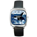 LEAPING KILLER WHALE SQUARE METAL WATCH
