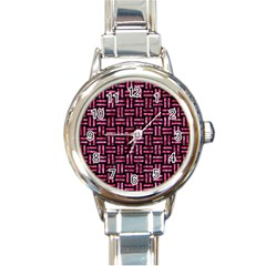 Woven1 Black Marble & Pink Marble Round Italian Charm Watch by trendistuff