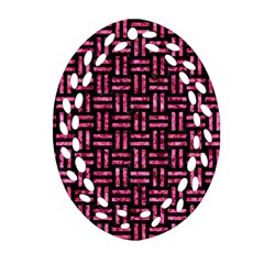 Woven1 Black Marble & Pink Marble Oval Filigree Ornament (two Sides) by trendistuff