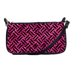 Woven2 Black Marble & Pink Marble (r) Shoulder Clutch Bag by trendistuff