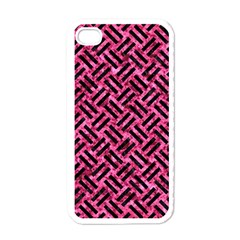Woven2 Black Marble & Pink Marble (r) Apple Iphone 4 Case (white) by trendistuff