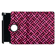 Woven2 Black Marble & Pink Marble (r) Apple Ipad 2 Flip 360 Case by trendistuff