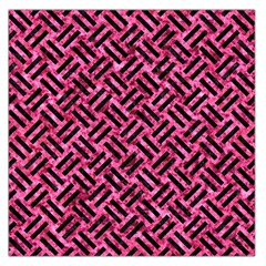 Woven2 Black Marble & Pink Marble (r) Large Satin Scarf (square) by trendistuff