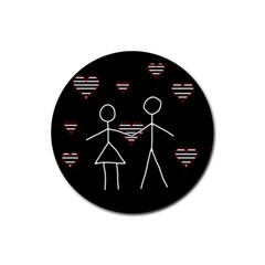 Couple In Love Rubber Coaster (round)  by Valentinaart