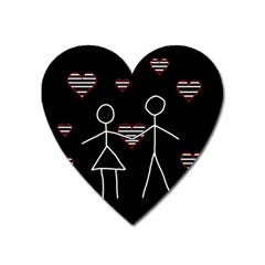 Couple In Love Heart Magnet by Valentinaart