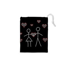 Couple In Love Drawstring Pouches (xs)  by Valentinaart