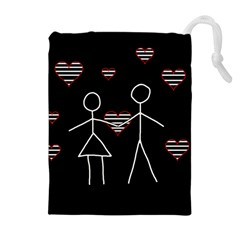 Couple In Love Drawstring Pouches (extra Large) by Valentinaart