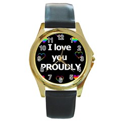 Proudly Love Round Gold Metal Watch by Valentinaart