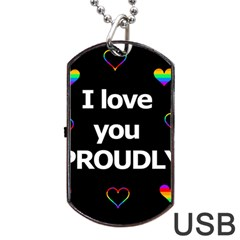 Proudly Love Dog Tag Usb Flash (two Sides)