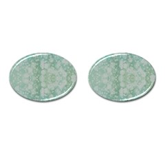 Light Circles, Mint Green Color Cufflinks (oval) by picsaspassion